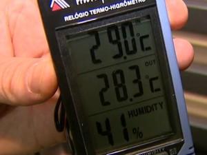Termômetro marca temperatura menor com as janelas de casa fechadas em dias quentes. (Foto: Reprodução/EPTV)