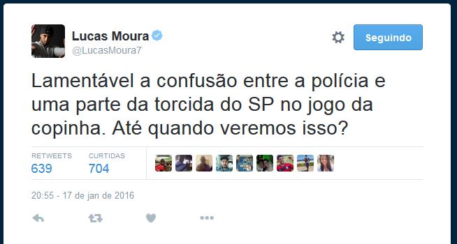 Lucas Moura lamenta briga entre torcedores do São Paulo e policiais na Copinha