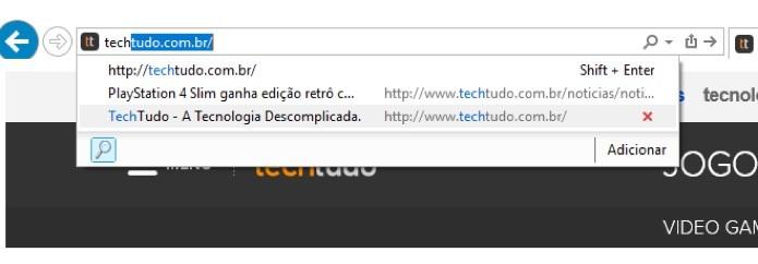 Sugestões no Internet Explorer (Foto: Reprodução/André Sugai)