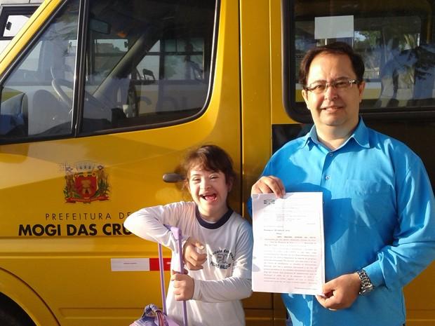 Filha de Alessandro vai continuar tendo atendimento especializado na rede municipal de Mogi das Cruzes (Foto: Alessandro Guedes/ arquivo pessoal)