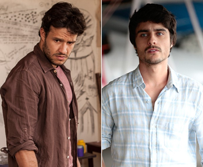 Nando Rodrigues e Guilherme Leicam como Virgílio e Laerte de Em Família (Foto: TV Globo)