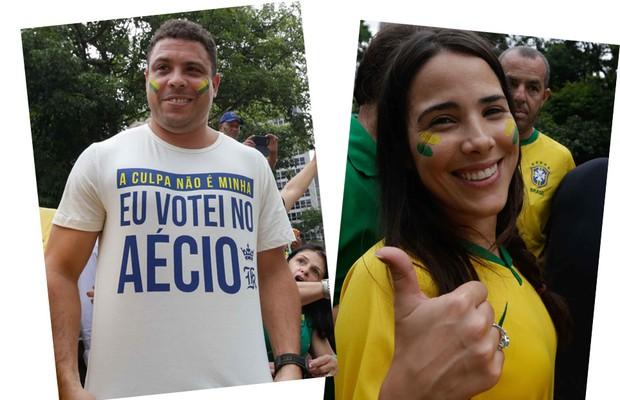 Ronaldo Fenômeno e Wanessa engrossaram o coro de um milhão de pessoas nas ruas de São Paulo (Foto: AG.News)
