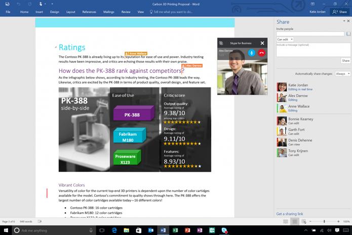 Novo Office 2016 traz possibilidade de edição colaborativa de documentos e integração com o Skype nos aplicativos (Foto: Divulgação/Microsoft)