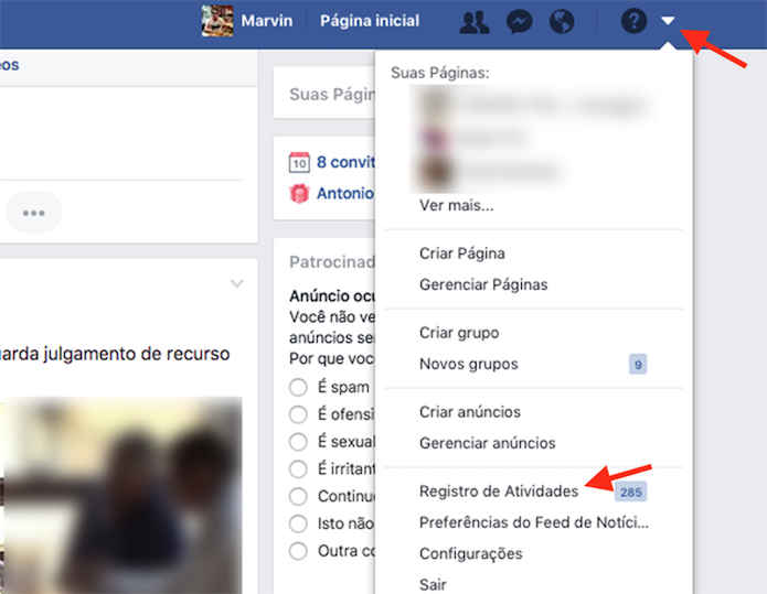 Caminho para acessar o registro de atividades do Facebook (Foto: Reprodução: Marvin Costa)