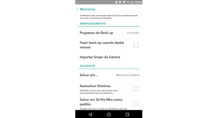 Opções permitem configurar comportamento do Memories (Foto: Reprodução/Snapchat)