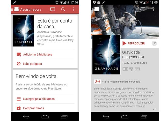 Google Play Filmes dá filme Gravidade para donos de Nexus 5 (Foto: Reprodução/Paulo Alves) (Foto: Google Play Filmes dá filme Gravidade para donos de Nexus 5 (Foto: Reprodução/Paulo Alves))