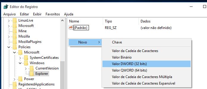 Criando um novo valor no registro do Windows (Foto: Reprodução/Edivaldo Brito)