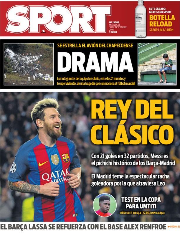 Capa de jornal Sport Chapecoense (Foto: Reprodução / Sport)