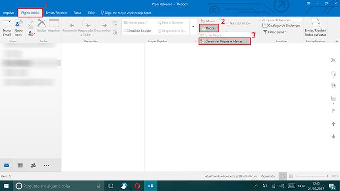 Usuário precisa criar regra para enviar mensagens automáticas no Outlook (Foto: Reprodução/Elson de Souza)