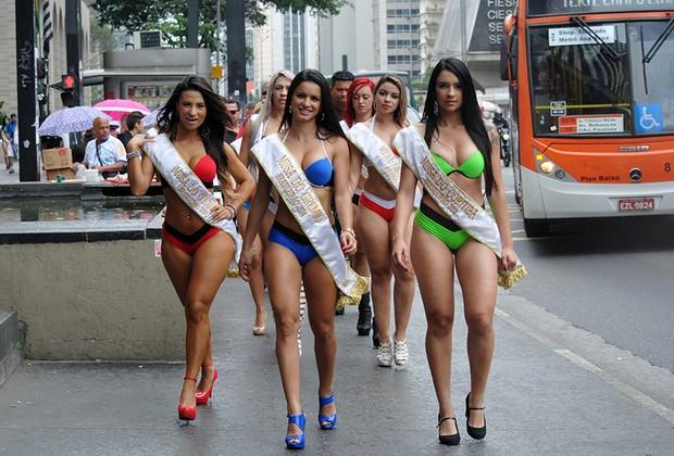 Musas do Brasileirão na Avenida Paulista (Foto: Divulgação/Eduardo Graboski-Mais Mídia)
