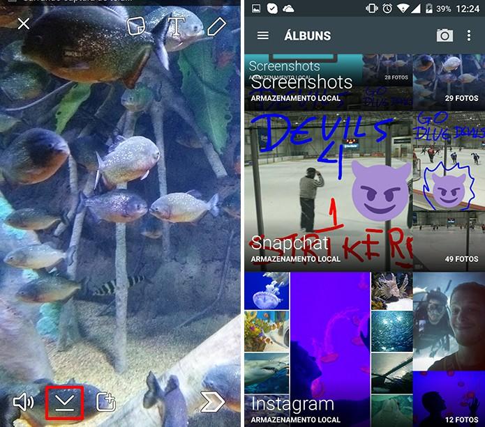 Snapchat salvará conteúdo em uma pasta reservada do seu telefone (Foto: Reprodução/Elson de Souza)