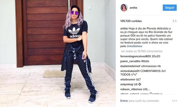 Anitta posta foto no Instagram com novo visual  (Foto: Reprodução/Instagram)