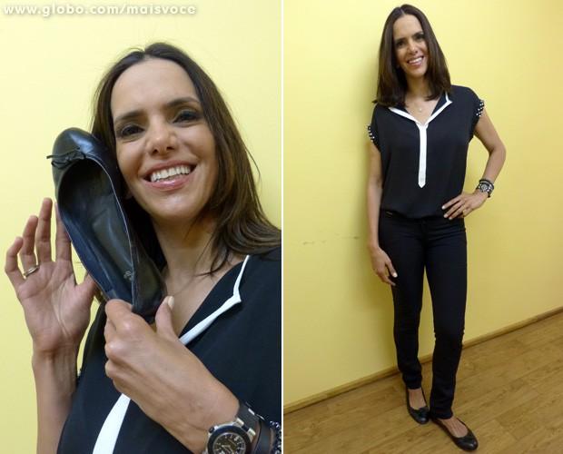 Virna conta que tem dificuldades para comprar sapatos e calças (Foto: Mais Você / TV Globo)