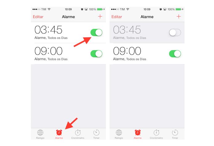 Desativando um alerta de despertador do iPhone (Foto: Reprodução/Marvin Costa)