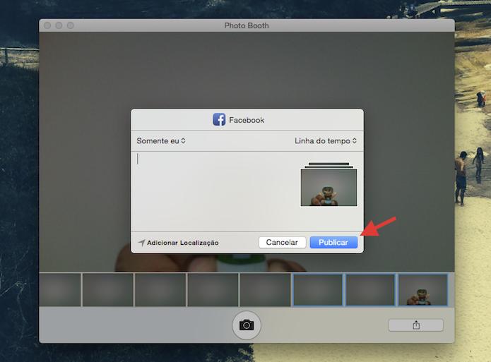 Publicando fotos feitas no Photo Booth do mac com o Facebook (Foto: Reprodução/Marvin Costa)