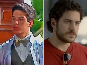 Marco Pigossi em sua estreia na TV Globo e, atualmente, em Boogie Oogie (Foto: Vídeo Show / TV Globo)