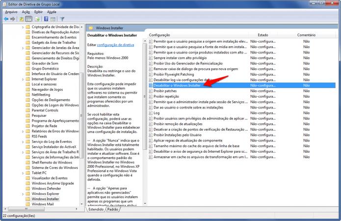 Opção para desabilitar a instalação de novos programas.  (Foto: (Foto: Reprodução/Alessandro Junior))