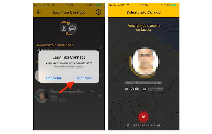 Chamando uma corrida com o Taxi Connect do Easy Taxi (Foto: Reprodução/Marvin Costa)