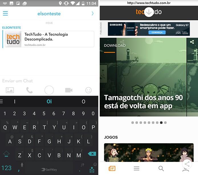 Snapchat possui um navegador embutido para abrir links (Foto: Reprodução/Elson de Souza)