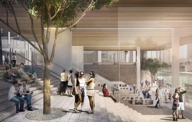 Nova loja da Apple tem telhado que imita o MacBook Air (Foto: Foster + Partners)