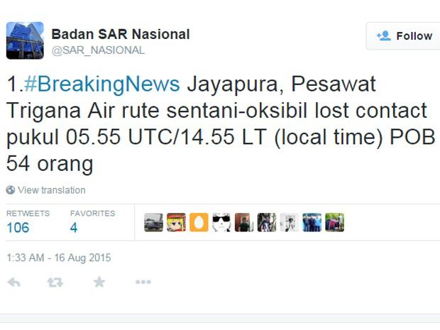 Aeronave da Trigana Air Service perdeu contato com controle, anuncia perfil da Basarnas no Twitter (Foto: Reprodução/Twitter/Badan SAR Nasional)