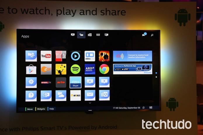 TV da Philips com Spotify Conect mostram aplicativo na tela do aparelho (Foto: Fabricio Vitorino / TechTudo)