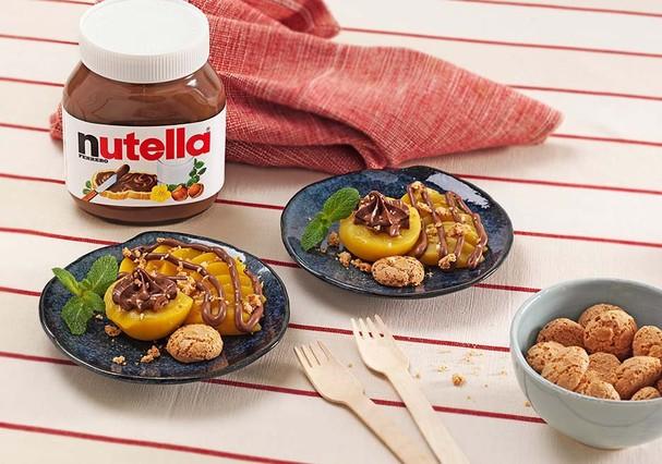 Ama pêssego? Imagine com NUTELLA® e biscoitos de amêndoa (Foto: Divulgação)