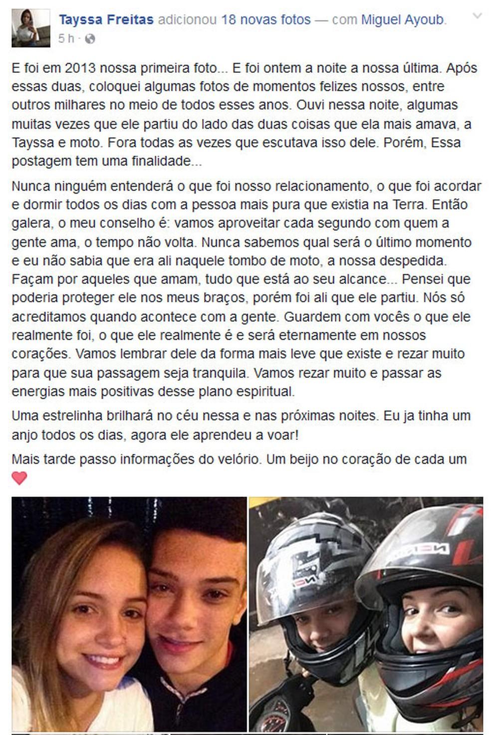 Namorada de Miguel postou texto em homenagem ao jovem morto em Laranjeiras (Foto: Reprodução/Facebook)