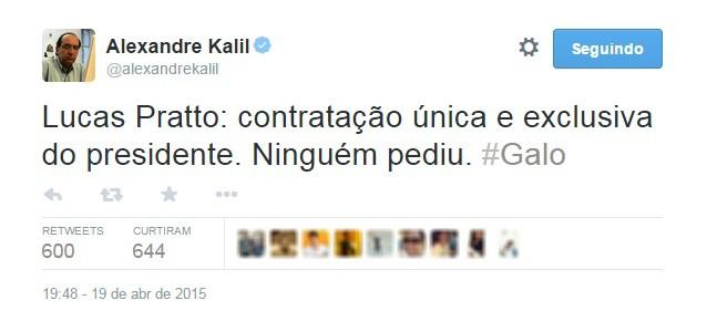Alexandre kalil lucas pratto atlético-MG (Foto: Reprodução / Twitter)
