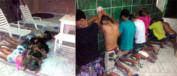 Garotas e rapazes detidos dentro do motel foram levados para a delegacia; vários adolescentes estavam no grupo  (Foto: Divulgação/Polícia Militar do RN)