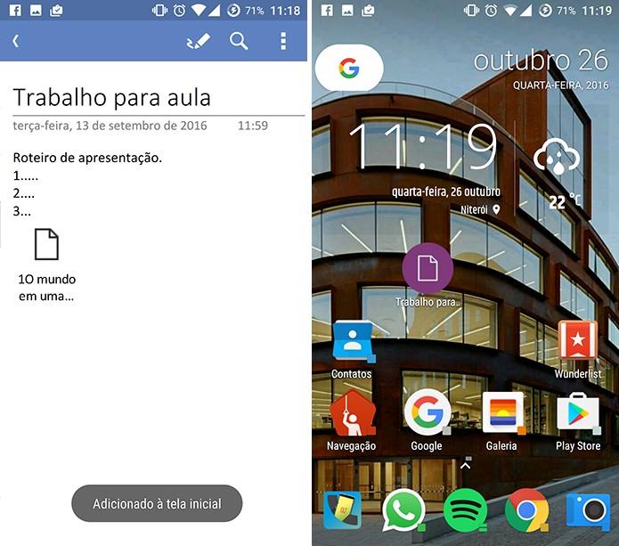 OneNote mostrará atalho para nota na tela inicial do Android (Foto: Reprodução/Elson de Souza)