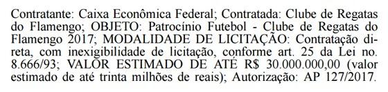 Caixa publica no Diário Oficial da União o valor que pode destinar ao Flamengo em 2017 (Foto: Reprodução)