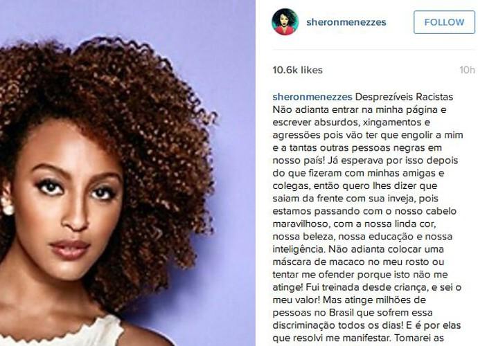 Sheron conversa, ao vivo, com Fátima Bernardes sobre os ataques racistas que ela sofreu na web (Foto: Arquivo pessoal)