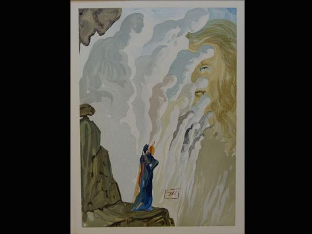 Segunda etapa da mostra reúne gravuras do purgatório, num fundo preto. (Foto: Reprodução)