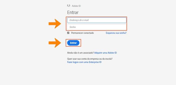 Faça o login na conta Adobe que é gratuito (Foto: Reprodução/Barbara Mannara)