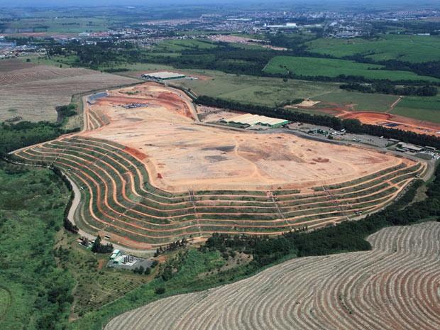 Aterro da Estre em Paulínia, no interior de São Paulo, que implantou tecnologias para reduzir as emissões de CO2 desde 2006 e já negociu 600 mil toneladas no mercado de crédito de carbono. (Foto: Divulgação/Estre)