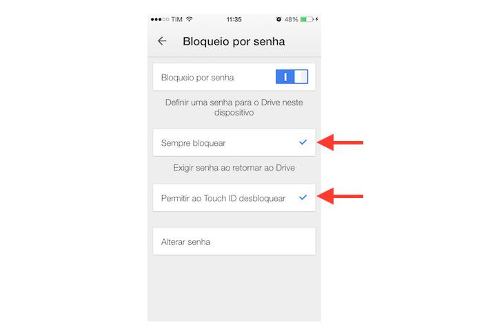 Definindo as opções de bloqueio por código do Google Drive para iPhone (Foto: Reprodução/Marvin Costa)