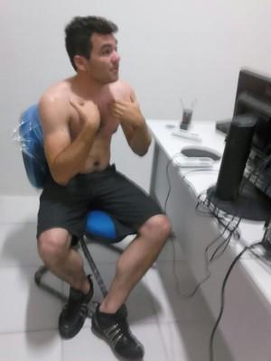 João Leão Neto - torcedor do River preso em São Luís suspeito de atirar rojão (Foto: Divulgação / Polícia Militar)