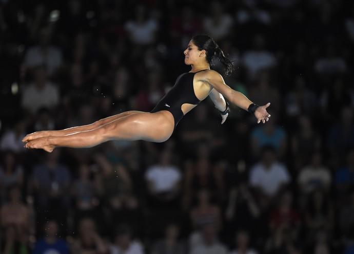 Ingrid Oliveira, durante salto nos Jogos Pan-Americanos (Foto:  TIMOTHY A. CLARY/AFP/Getty Images)