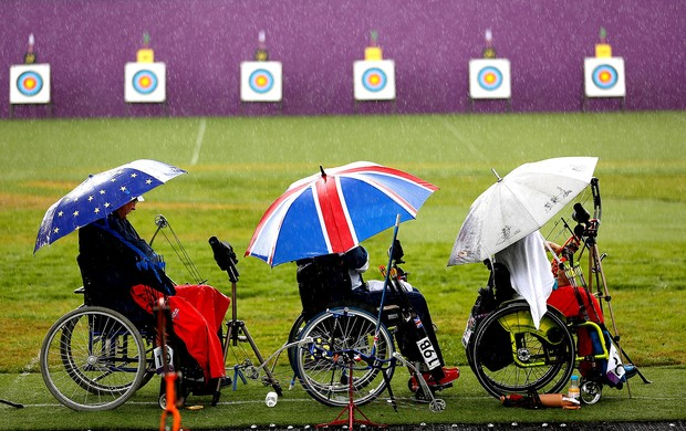 tiro com arco chuva Paralimp&#237;adas (Foto: Getty Images)