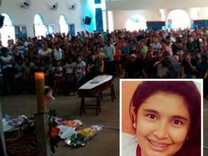 Andressa Caroline Fontes, de 16 anos, morta a tiros em uma escola na cidade de José da Penha, RN (Foto: Arquivo Pessoal e Carlos Adams )