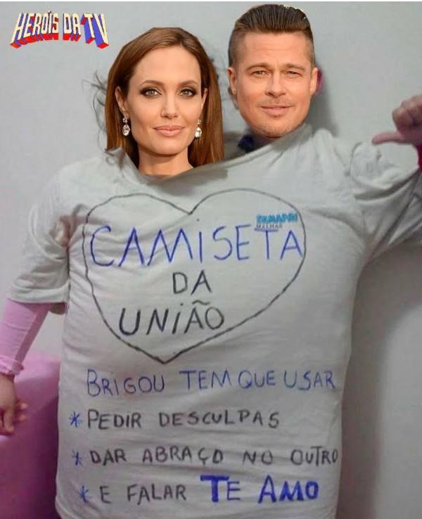 Fãs criaram montagens contra o fim do casamento de Brad e Angelina, que durou 12 anos  (Foto: Reprodução)