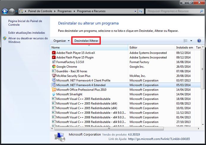 Lista de programas instalados no computador (Foto: Reprodução/Marcela Vaz)