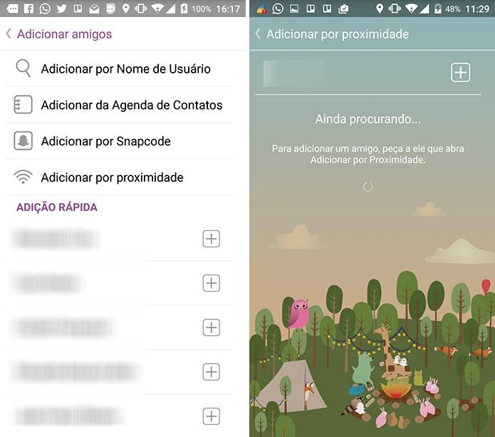 Snapchat pode adicionar pessoas na proximidade (Foto: Reprodução/Elson de Souza)