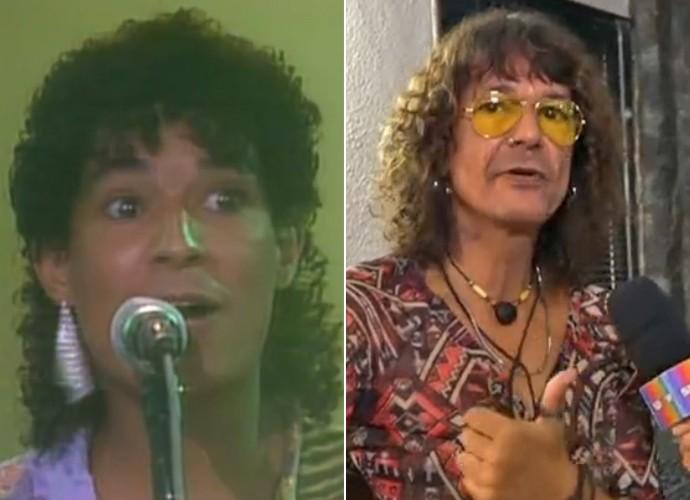 Antes e depois! À esquerda, Luiz Caldas como convidado do programa 'Chico e Caetano' e, à direita, em momento atual (Foto: Vídeo Show / TV Globo)