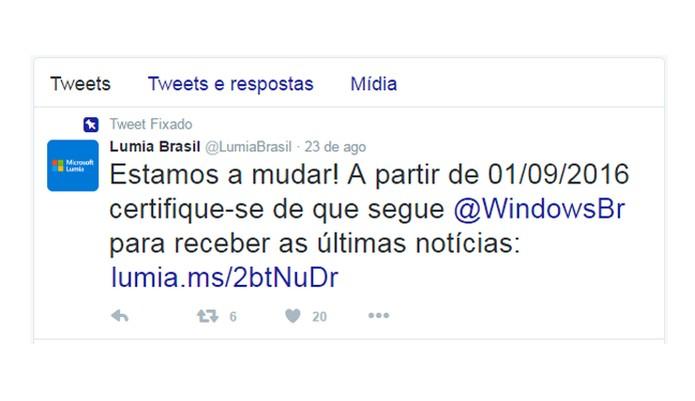 Twitter da Lumia Brasil foi desativado (Foto: Reprodução/Aline Batista)