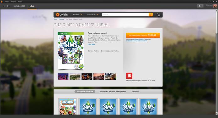 Página de The Sims 3 no Origin (Foto: Reprodução/André Mello)