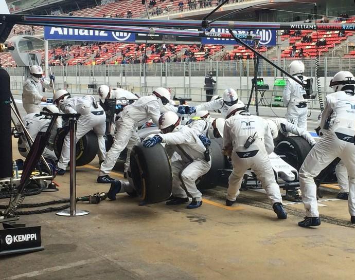 Foco de Felipe Massa e da Williams neste sábado foi a simulação de pit stops (Foto: Divulgação)