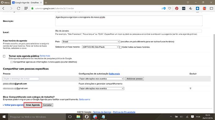 Usuário deve salvar alterações no Google Agenda para concluir compartilhamento (Foto: Reprodução/Elson de Souza)