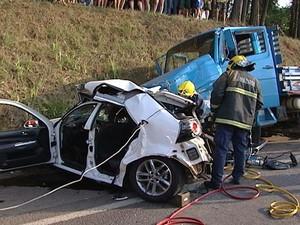 Acidente em Joaçaba, Oeste de Santa Catarina (Foto: Reprodução/RBS TV)